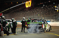 Nov. 13, 2009; Avondale, AZ, USA; NASCAR Camping World Truck Series driver Chad McCumbee pits during the Lucas Oil 150 at Phoenix International Raceway. Mandatory Credit: Mark J. Rebilas-