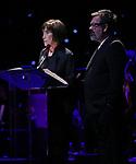 Susan Birkenhead and Duncan Shiek on stage at the Dramatists Guild Foundation 2018 dgf: gala at the Manhattan Center Ballroom on November 12, 2018 in New York City.