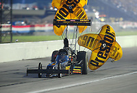 Sept. 3, 2011; Claremont, IN, USA: NHRA top fuel dragster driver Troy Buff during qualifying for the US Nationals at Lucas Oil Raceway. Mandatory Credit: Mark J. Rebilas-