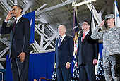 United States President Barack Obama, left, and Vice President Joe Biden, left center, participate in a ceremony marking the end of the war  in Iraq and the return of the United States Forces-Iraq Colors at Joint Base Andrews in Camp Springs, Maryland on Tuesday, December 20, 2011.  The last remaining U.S. troops left Iraq on December 18, 2011 officially ending the nearly nine year war. Joining the President and Vice President are Deputy Secretary of Defense Ashton Carter, right center, and Chairman of the Joint Chiefs of Staff General Martin Dempsey..Credit: Kristoffer Tripplaar  / Pool via CNP