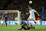 UEFA Champions League 2017/2018.<br /> Quarter-finals 1st leg.<br /> FC Barcelona vs AS Roma: 4-1.<br /> Gerard Pique vs Aleksandar Kolarov.