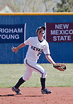 April 20, 2012:   Nevada Wolf Pack shortstop Karley Hopkins calls for the pop up against the University of Hawai'i Warrior during their NCAA softball game played at Christina M. Hixson Softball Park on Friday in Reno, Nevada.