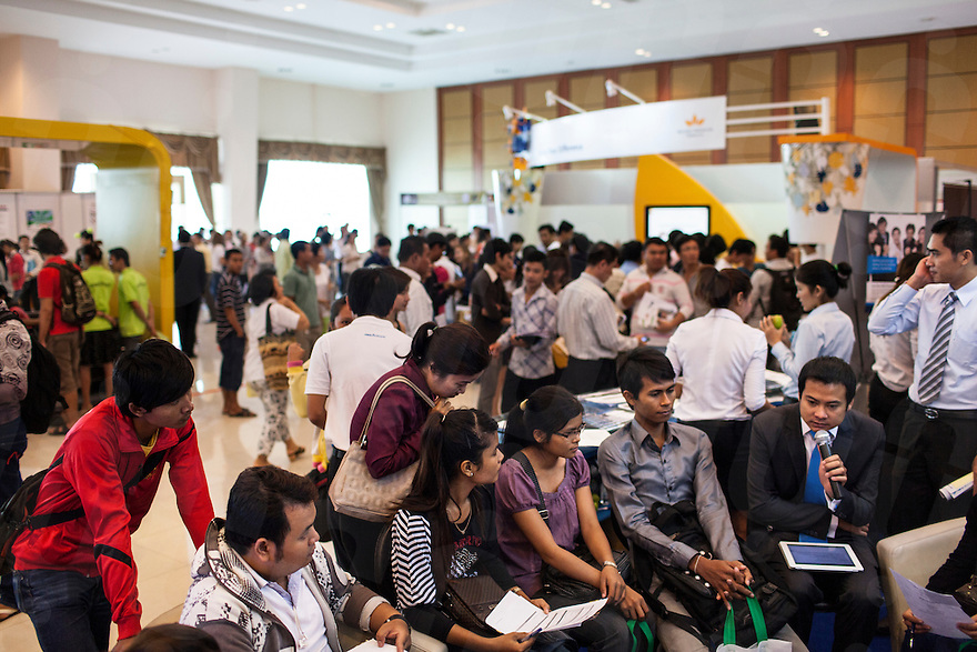 24 June 2012 - Phnom Penh, Cambodia. People attend a job forum on Koh Pich island. © Nicolas Axelrod / Ruom