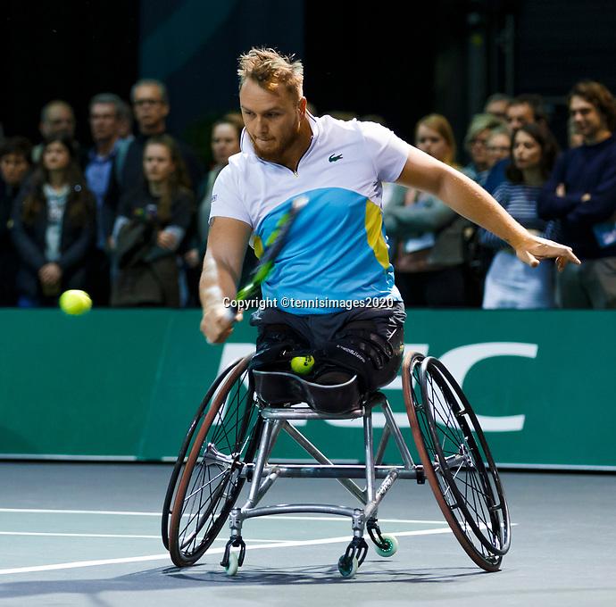 Rotterdam, The Netherlands, 14 Februari 2020, ABNAMRO World Tennis Tournament, Ahoy, <br /> Wheelchair Doubles: Nicolas Peifer (FRA).<br /> Photo: www.tennisimages.com