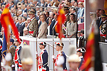 Spain's King Juan Carlos (l), Queen Sofia (c-l), Prince Felipe (c-r), and Princess Letizia  during a military parade marking the Armed Forces Day on June 2, 2012 in Valladolid.(ALTERPHOTOS/Acero)