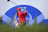 Angel Yin Team USA on the 8th tee during Day 1 Fourball at the Solheim Cup 2019, Gleneagles Golf CLub, Auchterarder, Perthshire, Scotland. 13/09/2019.<br /> Picture Thos Caffrey / Golffile.ie<br /> <br /> All photo usage must carry mandatory copyright credit (© Golffile | Thos Caffrey)