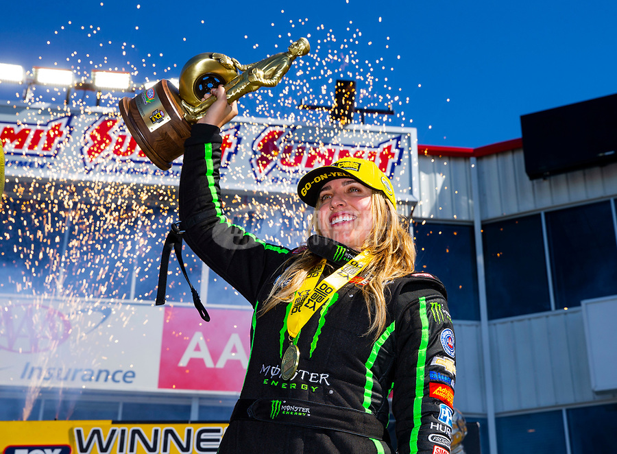 Apr 22, 2018; Baytown, TX, USA; NHRA top fuel driver Brittany Force celebrates after winning the Springnationals at Royal Purple Raceway. Mandatory Credit: Mark J. Rebilas-USA TODAY Sports