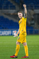 Tom Clarke of Preston North End celebrates his side's win with his Man of The Match Award at full time of the Sky Bet Championship match between Cardiff City and Preston North End at the Cardiff City Stadium, Cardiff, Wales on 29 December 2017. Photo by Mark  Hawkins / PRiME Media Images.