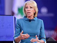 National Harbor, MD - February 22, 2018: U.S. Secretary of Education Betsy Devos participates in a discussion during the Conservative Political Action Conference (CPAC) at the Gaylord National Hotel in National Harbor, MD, February 22, 2018  (Photo by Don Baxter/Media Images International)