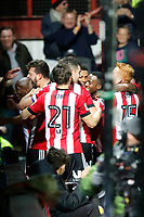 GOAL - Yoann Barbet of Brentford celebrates in front of fans during the Sky Bet Championship match between Brentford and Leeds United at Griffin Park, London, England on 4 November 2017. Photo by Carlton Myrie.