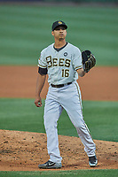 Jose Rodriguez (16) of the Salt Lake Bees during the game against the El Paso Chihuahuas at Smith's Ballpark on August 17, 2019 in Salt Lake City, Utah. The Bees defeated the Chihuahuas 5-4. (Stephen Smith/Four Seam Images)