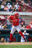 Harrisburg Senators designated hitter Christopher Bostick (1) at bat during a game against the Erie Seawolves on August 30, 2015 at Jerry Uht Park in Erie, Pennsylvania.  Harrisburg defeated Erie 4-3.  (Mike Janes/Four Seam Images)