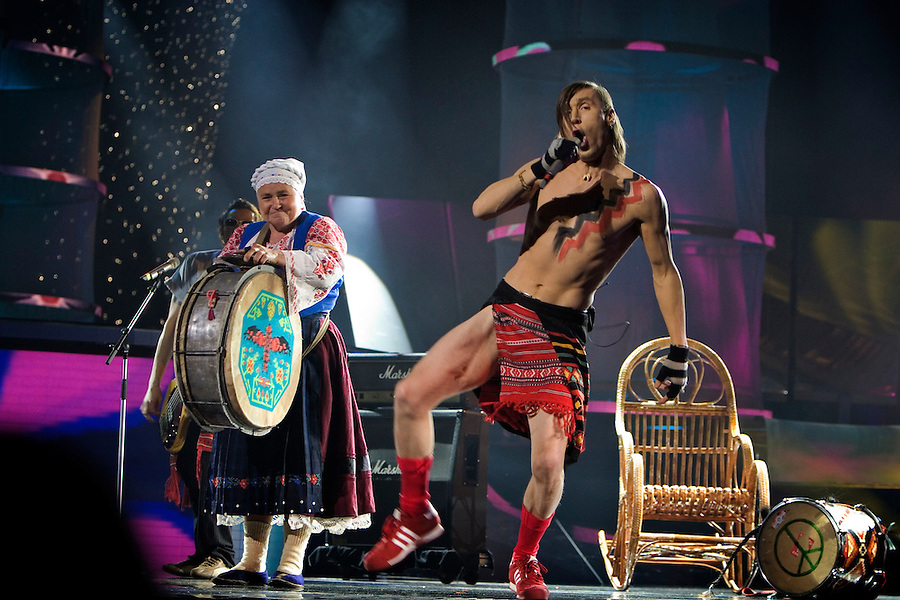 "Kiev, Ukraine, 20/05/2005..The fiftieth Eurovision Song Contest..Moldovan contestants Zdob shi Zdub perform their entry ""Grandma Beats The Drum"", which featured a drum-beating pensioner."