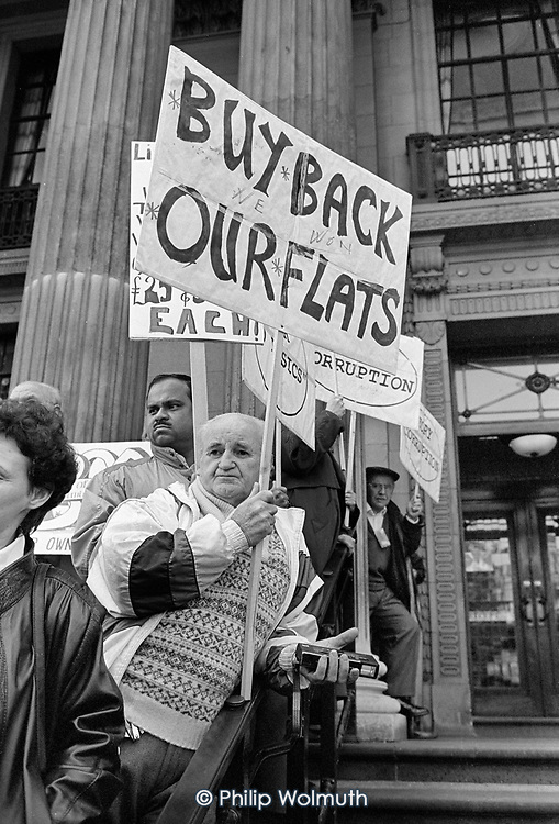 Protestors outside the District Auditor's preliminary hearing into Westminster City Council gerrymandering allegations, Marylebone Council House, 1994.