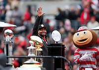 Quarterback Braxton Miller waves to the crowd during the Ohio State football National Championship celebration at Ohio Stadium on Saturday, January 24, 2015. (Columbus Dispatch photo by Jonathan Quilter)