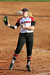 RALEIGH, NC - MARCH 29: NC State's Peyton Silverman catches a drive straight up the middle. The North Carolina State University Wolfpack hosted the Liberty University Flames on March 29, 2017, at Dail Softball Stadium in Raleigh, NC in a Division I College Softball game. Liberty won the game 5-3.