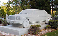 Ray Tse, Jr. died in 1981 at the age of 15. His gravestone is a 36 ton granite memorial sculpted to resemble a full size 1982 Mercedes Benz 2400 Diesel limousine at Rosehill Cemetery in Linden New Jersey