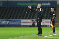Cameron Toshack Coach of Swansea City U21 shouts instructions to his team from the dug-out during the Checkatrade Trophy match between Swansea City U21 and Bristol Rovers at the Liberty Stadium in Swansea, Wales, UK. Wednesday 05 December 2018