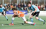 WASSENAAR - Hoofdklasse hockey heren, HGC-Bloemendaal (0-5).  Florian Fuchs (Bldaal) met rechts Weigert Schut (HGC)     COPYRIGHT KOEN SUYK