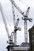 Cranes at Canary Wharf in the London Docklands.
