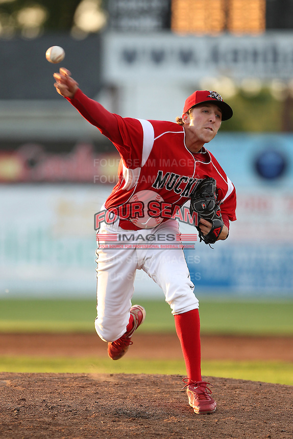 Batavia Muckdogs pitcher Corey Baker #8 during an exhibition game against the Newark Pilots of the Perfect Game Collegiate Baseball Lague at Dwyer Stadium on June 15, 2012 in Batavia, New York.  Batavia defeated Newark 8-0.  (Mike Janes/Four Seam Images)