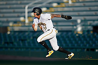 Bradenton Marauders right fielder Bligh Madris (17) running the bases during a game against the Tampa Tarpons on April 25, 2018 at LECOM Park in Bradenton, Florida.  Tampa defeated Bradenton 7-3.  (Mike Janes/Four Seam Images)
