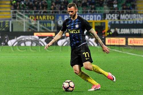 April 30th 2017, San Siro Stadium, Milan, Italy; Marcelo Brozovic of Inter in action during the Serie A football match, Inter Milan versus Napoli;