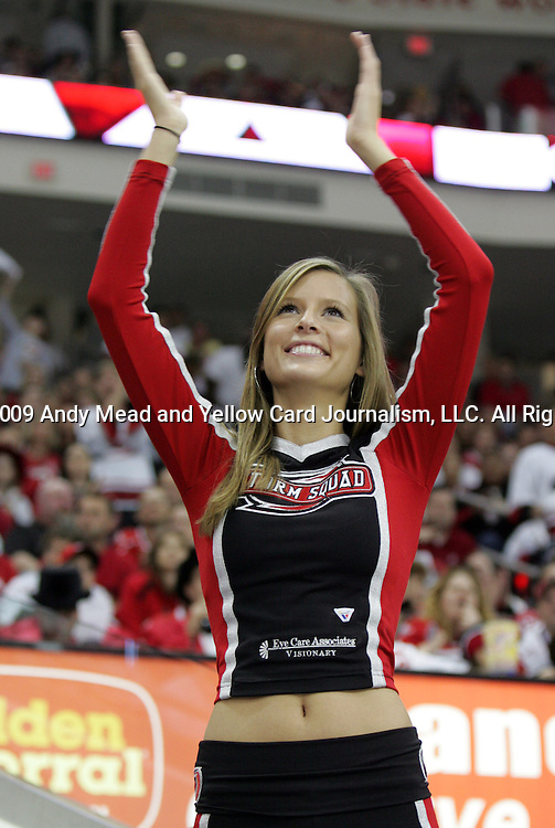 08 May 2009: A member of the Storm Squad, Carolina's cheerleaders. The Carolina Hurricanes defeated the Boston Bruins 4-1 at the RBC Center in Raleigh, NC in Game 4 of their 2009 National Hockey League Eastern Conference Semifinal playoff series.
