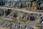 Aerial view of quarry, rock formation