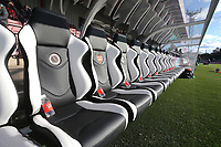 Padded seats in the dugout during Arsenal Women vs Sunderland AFC Ladies, FA Women's Super League FA WSL1 Football at Meadow Park on 12th November 2017
