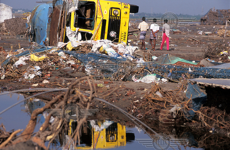 A scene of devastation following the tsunami which struck South Asia on 26/12/2004..An underwater earthquake measuring 9 on the Richter scale triggered a series of tidal waves which caused devastation when they struck dry land. 12 countries were affected by the tsunami, with a combined death toll of over 150,000.