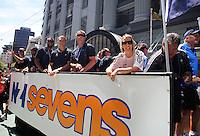 The NZ sevens team float. 2011 Wellington IRB sevens parade in the Wellington CBD, Wellington, New Zealand on Thursday, 3 February 2011. Photo: Dave Lintott / lintottphoto.co.nz