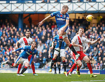 Clint Hill connects with a corner kick and almost scores