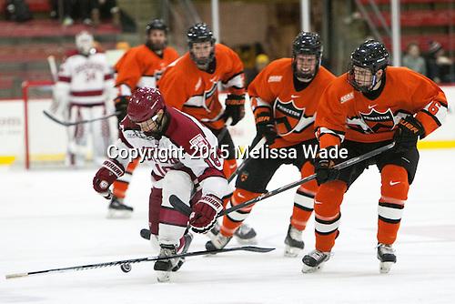 Mike Seward (Harvard - 18), Matt Nelson (Princeton - 6) - The Harvard University Crimson defeated the visiting Princeton University Tigers 5-0 on Harvard's senior night on Saturday, February 28, 2015, at Bright-Landry Hockey Center in Boston, Massachusetts.