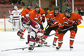 Mike Seward (Harvard - 18), Matt Nelson (Princeton - 6) - The Harvard University Crimson defeated the visiting Princeton University Tigers 5-0 on Harvard's senior night on Saturday, February 28, 2015, at Bright-Landry Hockey Center in Boston, Massachusetts.