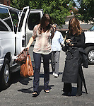 September 16th 2010  Exclusive .Filming the tv show Chuck in Los Angeles..Sarah Lancaster carrying a brown leather purse while also carrying a lighter brown Indian bag. Sarah was smiling as she walked to set showing off her new brown hair. It looks like she might have a little baby bump. Could Sarah be pregnant? They were also filming the show inside of a baby store..AbilityFilms@yahoo.com.805-427-3519.www.AbilityFilms.com.