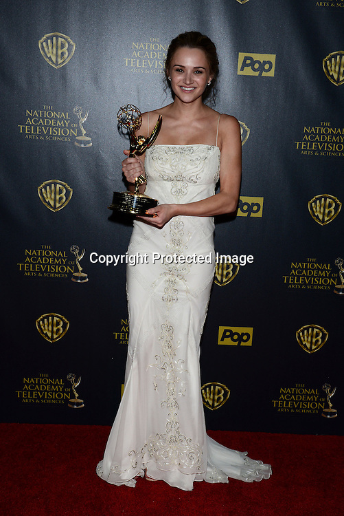 winner Hunter King attends the 42nd Annual Daytime Emmy Awards Press Room on April 26, 2015 at Warner Bros Studio in Burbank, California, USA