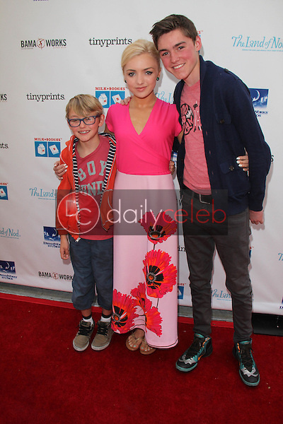 Peyton List and brothers<br /> at the Milk + Bookies Story Time Celebration, Skirball Center, Los Angeles, CA 04-27-14<br /> David Edwards/DailyCeleb.Com 818-249-4998