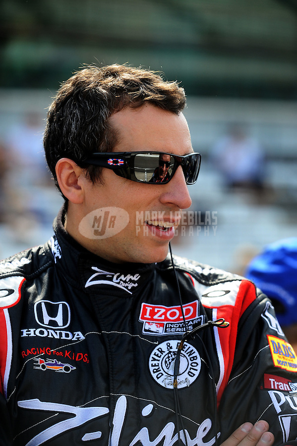 May 28, 2010; Indianapolis, IN, USA; IndyCar Series driver Justin Wilson during carb day prior to the Indianapolis 500 at the Indianapolis Motor Speedway. Mandatory Credit: Mark J. Rebilas-