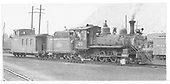 RGS 4-6-0 #20 with caboose #0404 at Durango.<br /> RGS  Durango, CO  Taken by Mead, Edgar T. - 9/1951