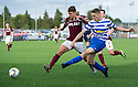 Morton's Mark Russell takes a shot at goal.