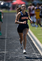 NWA Democrat-Gazette/ANDY SHUPE<br /> Aleyshka Pabon of Rogers Heritage comes in at the finish Wednesday, May 15, 2019, while competing in the 200-meter portion of the state heptathlon championship at Ramay Junior High School. Visit nwadg.com/photos to see more photographs from the meet.