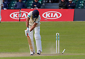 June 11th 2017, Trafalgar Road Ground, Southport, England; Specsavers County Championship Division One; Day Three; Lancashire versus Middlesex; James Franklin is bowled by Sadiq Mahmood of Lancashire for a duck as the home side press home their advantage ; Lancashire were all out for 309 after lunch in reply to Middlesex's first innings score of 180 all out
