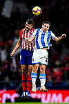 Rodrigo Cascante of Atletico de Madrid (L) fights for the ball with Luca Sangalli of Real Sociedad (R) during the La Liga 2018-19 match between Atletico de Madrid and Real Sociedad at Wanda Metropolitano on October 27 2018 in Madrid, Spain.  Photo by Diego Souto / Power Sport Images