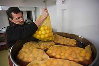 Europe/France/06/Alpes-Maritimes/Menton: Lionel Deremarque, liquoriste - Apéritifs du Soleil - prépare sa liqueur de Menton ( cousine du limoncello) - les fruits sont mis à macérer