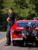 Sep 16, 2018; Mohnton, PA, USA; NHRA pro stock driver Drew Skillman during the Dodge Nationals at Maple Grove Raceway. Mandatory Credit: Mark J. Rebilas-USA TODAY Sports