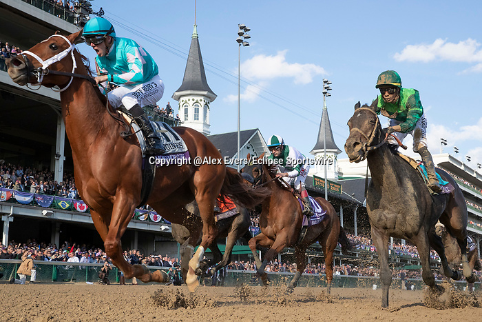 November 3, 2018: Monomoy Girl #11, ridden by Florent Geroux, wins the Longines Breeders' Cup Distaff on Breeders' Cup World Championship Saturday at Churchill Downs on November 3, 2018 in Louisville, Kentucky. Alex Evers/Eclipse Sportswire/CSM