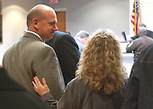 Robert Meyers, brother of sniper victim Dean Meyers, and his wife, Lori, react to the verdict of sniper suspect John Allen Muhammad as they leave courtroom 10 at the Virginia Beach Circuit Court in Virginia Beach, Virginia on November 17, 2003.<br /> Credit: Dave Ellis - Pool via CNP