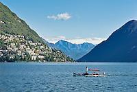 Switzerland, Ticino, Lugano: with a mini paddle-steamer across Lago Lugano, at background Castagnola | Schweiz, Tessin, Lugano: mit dem eigenen Raddampfer ueber den Luganer See, im Hintergrund Castagnola