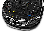 Car Stock 2015 Skoda Octavia Scout 5 Door Wagon Engine high angle detail view